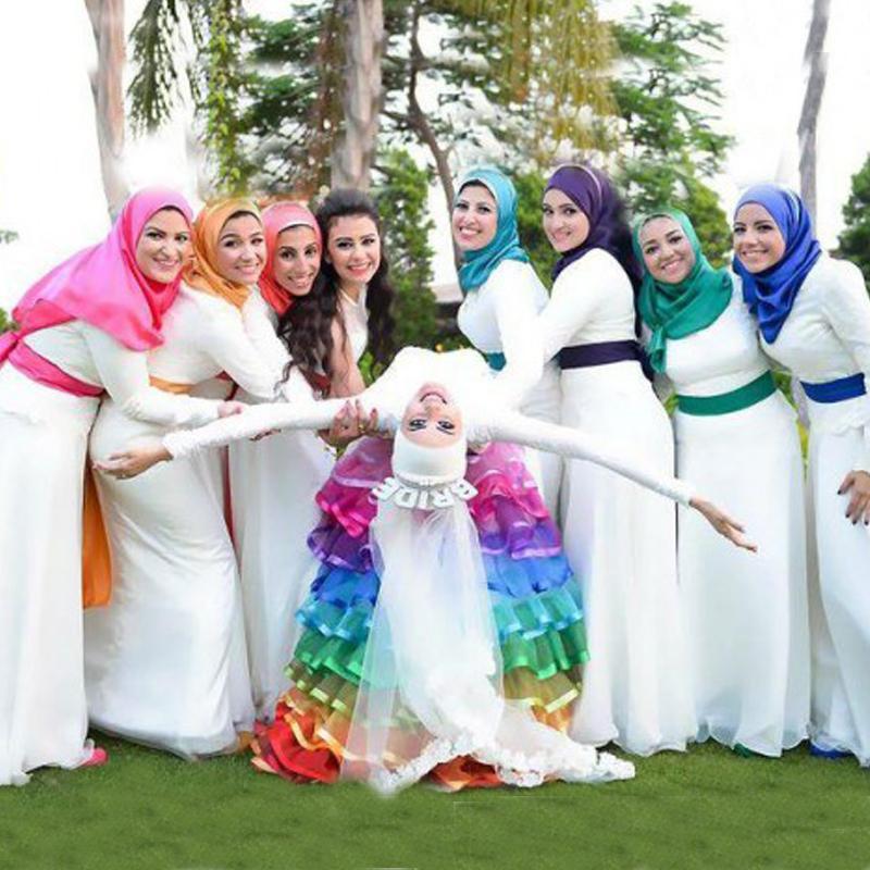 2015 Modest High Quality Muslim Bridesmaid Dresses Wedding