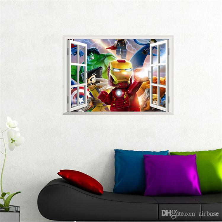 3D Window The Lego Movie Series Wall Sticker The Avengers Wall Decals Kids  Bedroom PVC 50*70cm Christmas Decoration Wall Art Poster Part 67
