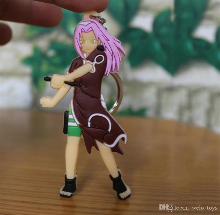 만화 애니메이션 키치안 Hokage Ninjia Naruto 금속 + 실리카 젤 키 체인 자동차 핸드백 열쇠 고리 혼합 애니메이션 선물 펜던트