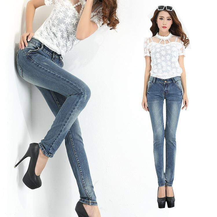2018 Winter New Women Korean Fashion Jeans Wear White Pants Significantly Thin Elastic Waist ...