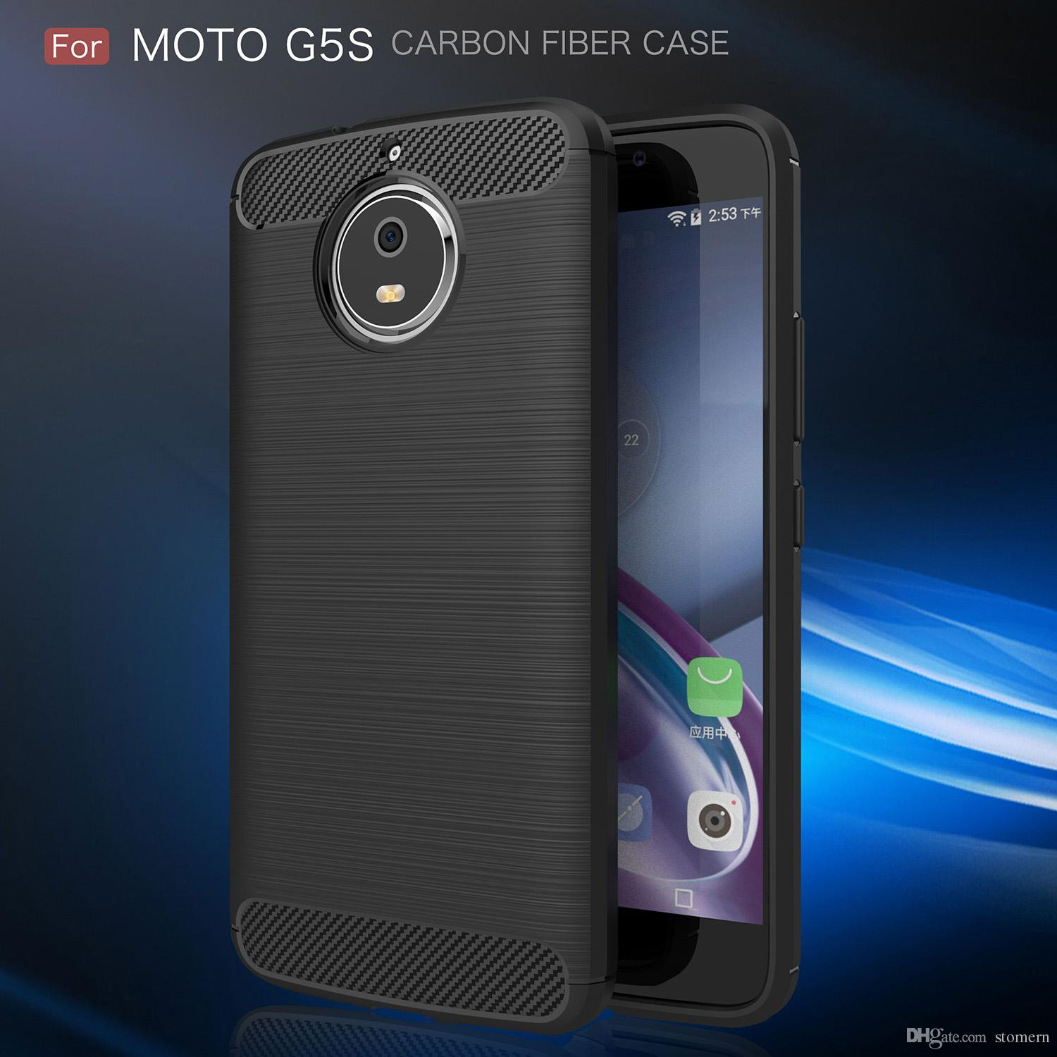 buy popular c767f be636 Carbon Fiber Case For Motorola Moto Z Z2 Play Force X4 G5s Luxury Texture  Brushed Silicone Soft Rubber Back Cover Slim Armor Rugged Skin