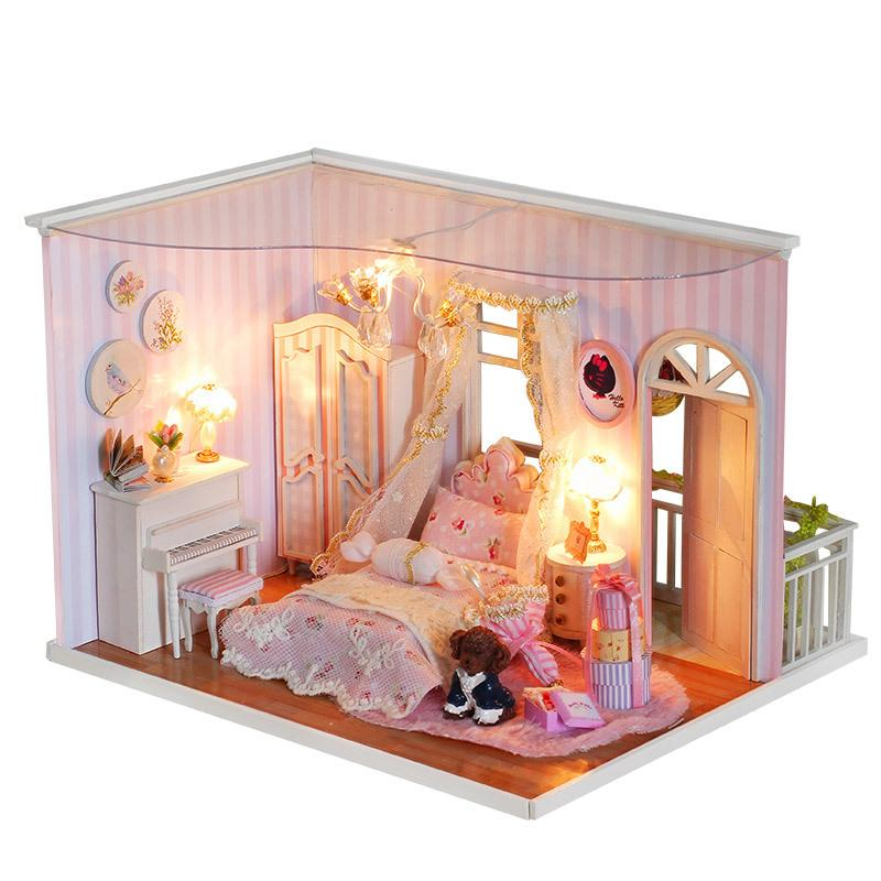 Wholesale  Handmade Doll House Furniture Miniatura Diy Doll Houses  Miniature Dollhouse Wooden Toys For Christmas And Birthday Gift CF2  Handmade Doll Houses ...