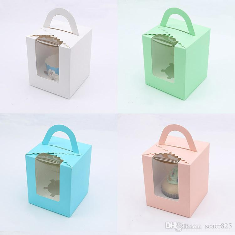 11x9.5x9cm4.3x3.7x3.5inch Pink Green Kraft Paper cupcake boxes with handle window cake Gift Packaging Wedding Birthday home Party