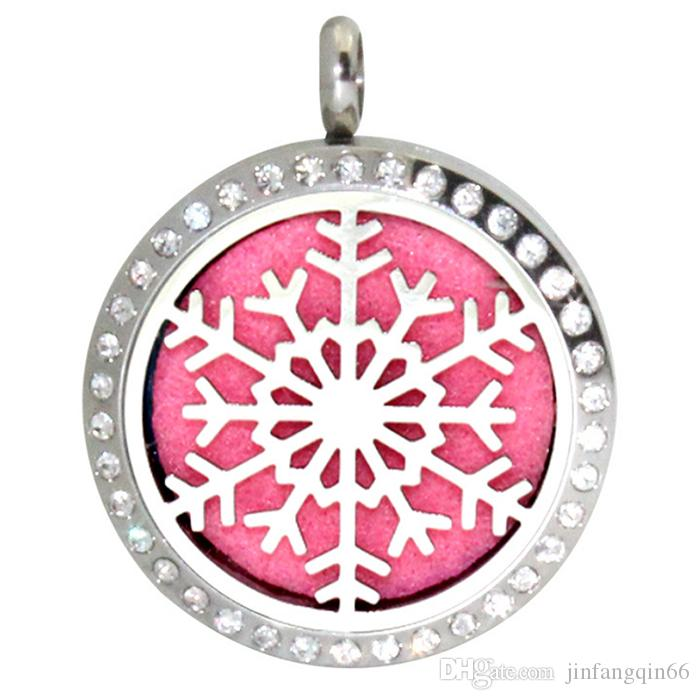 Stainless Steel Aromatherapy Essential Oil Diffuser Snowflake Design Perfume Locket Pendant Snowflake Pattern Perfume Lockets For Gift