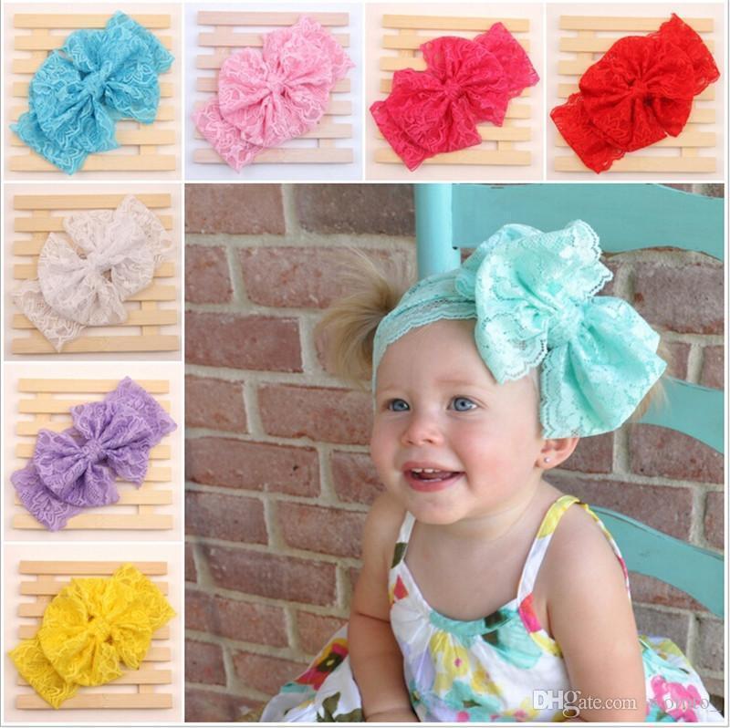 Großhandel Baby Mädchen Kind Spitze Stirnband Bogen Headwrap ...