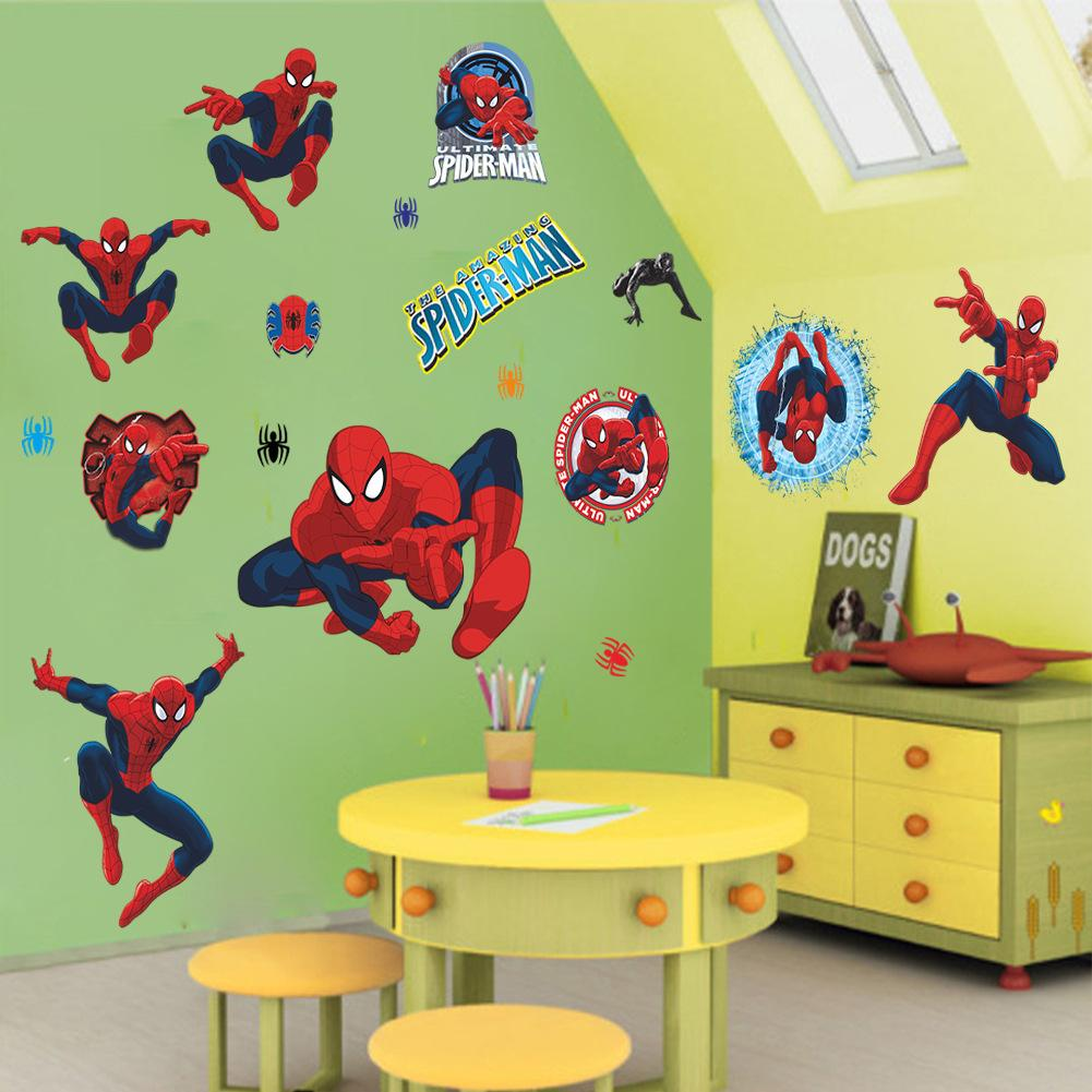 Spiderman Wall Art 50*70cm cartoon spiderman wall stickers halloween party christmas