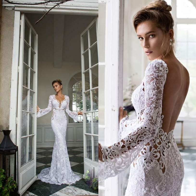 Wedding Gowns Open Back: 2015 Long Sleeves Lace Wedding Dresses With Sweetheart