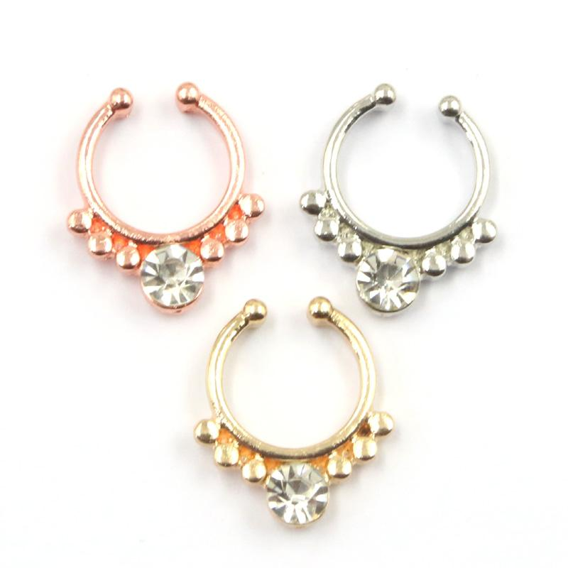 mixed hoop nose rings alloy rose gold and silver faux septum ring fake nose piercing with crystal for women N0038