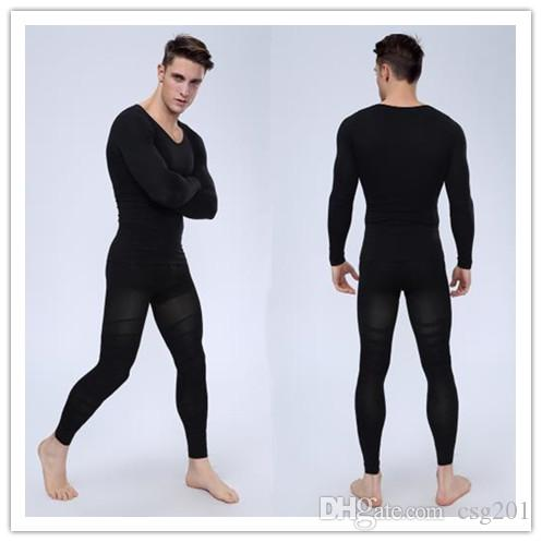 2018 Men Body Shaper Suits shirt+Pants Compression Slim ...