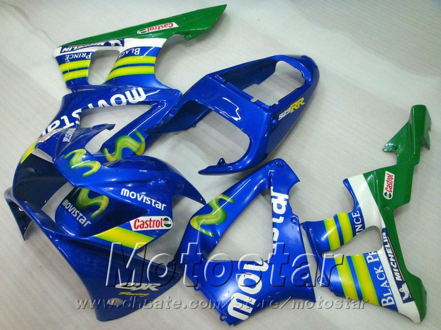 High quality fairing kit for HONDA CBR900RR CBR929 2000 2001 bodykits CBR 929 RR CBR929RR blue green movistar fairings set HB14
