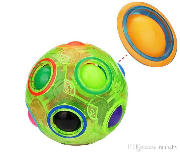 Glow Rainbow Ball Magic Cube Toy Speed Football Creative Spherical Puzzles Kids Educational Learning Toys Games for Children Christmas Gifts