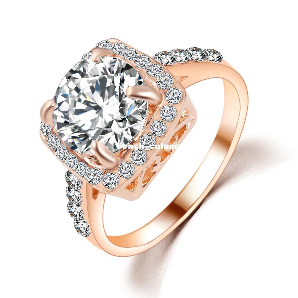 ccdc66ed80 Shining Elegant square zircon ring women Fashion new romantic wedding  Rhinestone diamond Crystal ring Jewelry Gifts Accessories wholesale