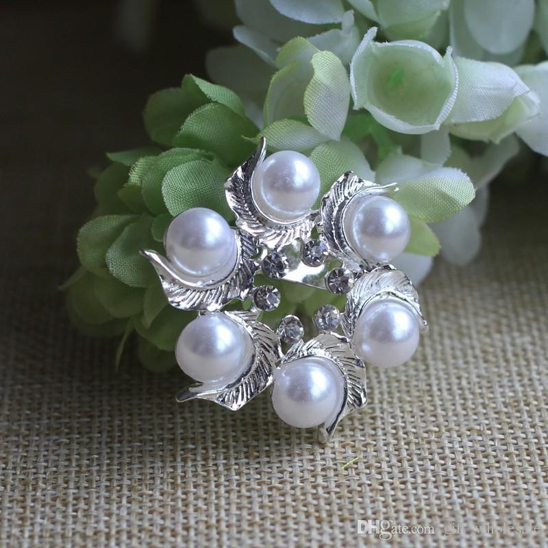 2015 Alloy Silver Plated Wholesale Lovely Crystal And Faux Pearl Flowers Brooch Pin 9 styles for choices