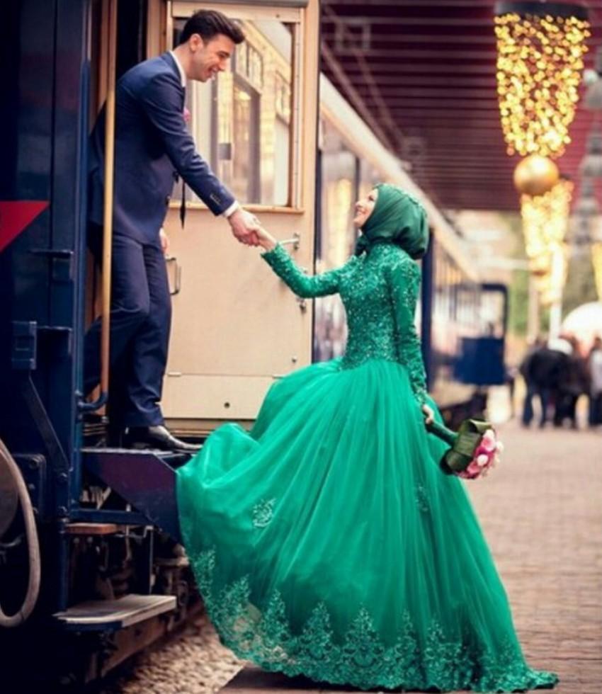 Green Beaded Wedding Dress High Collar Long Sleeves Zipper Back ...