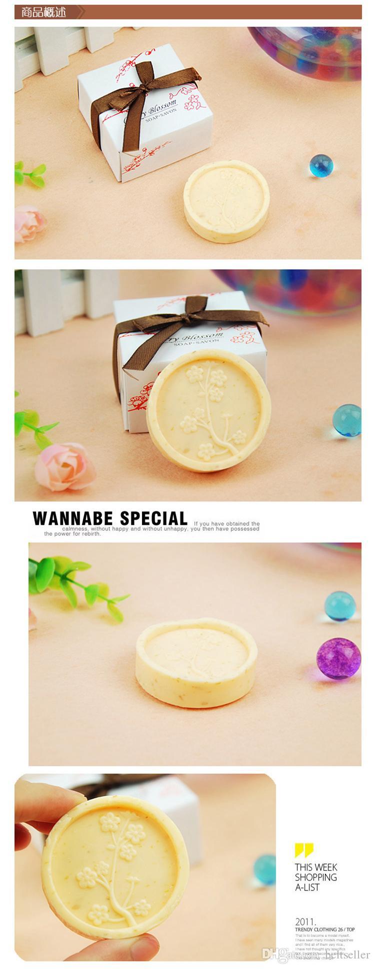 Avrupa tarzı kiraz çiçeği el yapımı sabun Sabun Craft Sabun Çiçek Düğün Iyilik Hediye ile hediye kutusu ücretsiz kargo