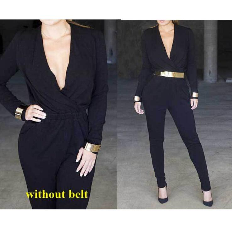 e9fd63a064 2019 Long Rompers Womens Jumpsuit 2015 Black Jumpsuits For Women Black Long  Sleeve Jumpsuit Plus Size Women Casual Clothing From Dress wholesales