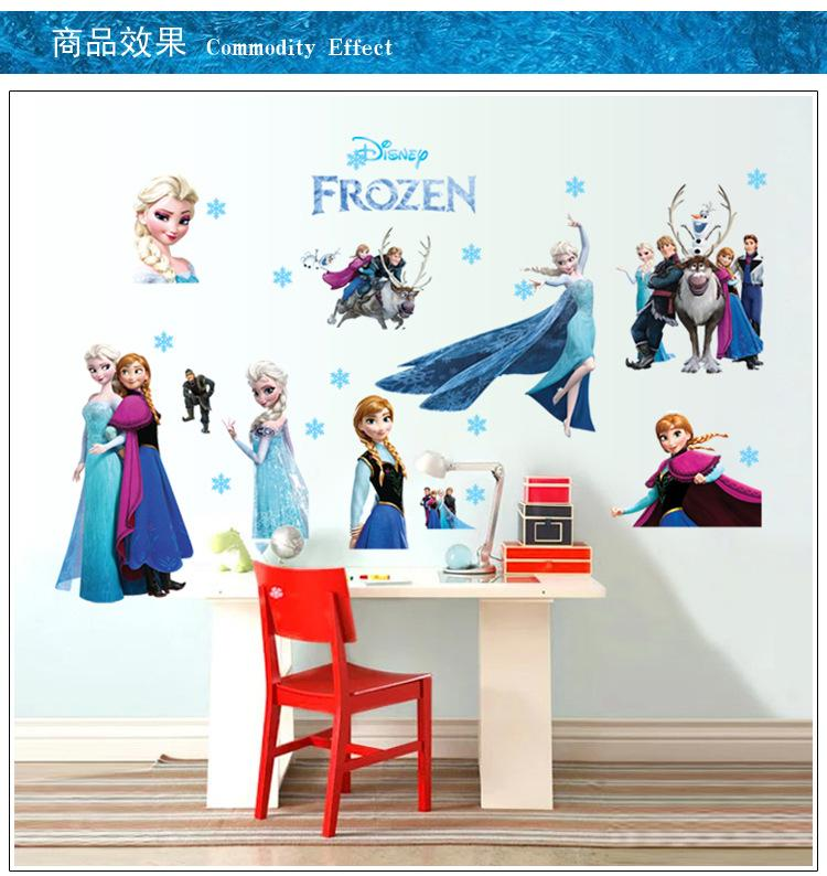 Cartoon Wall Stickers Home Decor Frozen Wallpaper Removable Sticker  Waterproof Room Decorative Poster Kids Love Removable Decals For Walls  Removable Kids ...