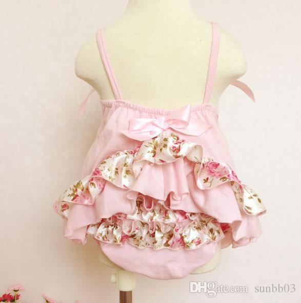 Infant Baby Girls Sets Floral Ruffles Tops + Shorts Bloomers Kids Girl Polka Dots Outfits Children's Clothes Pink Red 1271