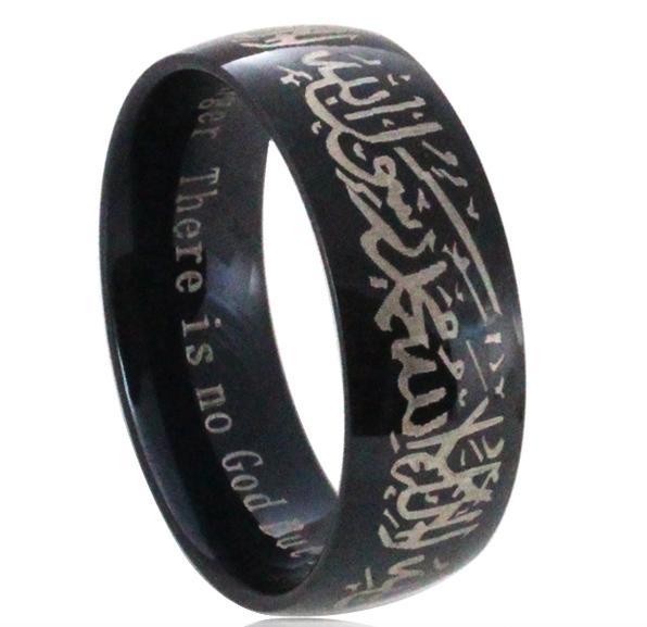 Muslim Allah Shahada Stainless Steel Ring For Women Men