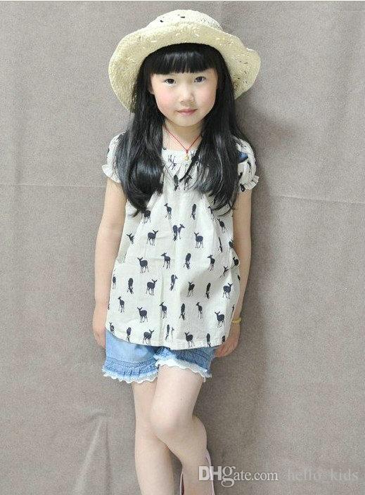 12ddcb5c4c77 New Fashion Girls T Shirt Kids TOPS Short Sleeve Blouse Deer Fawn ...
