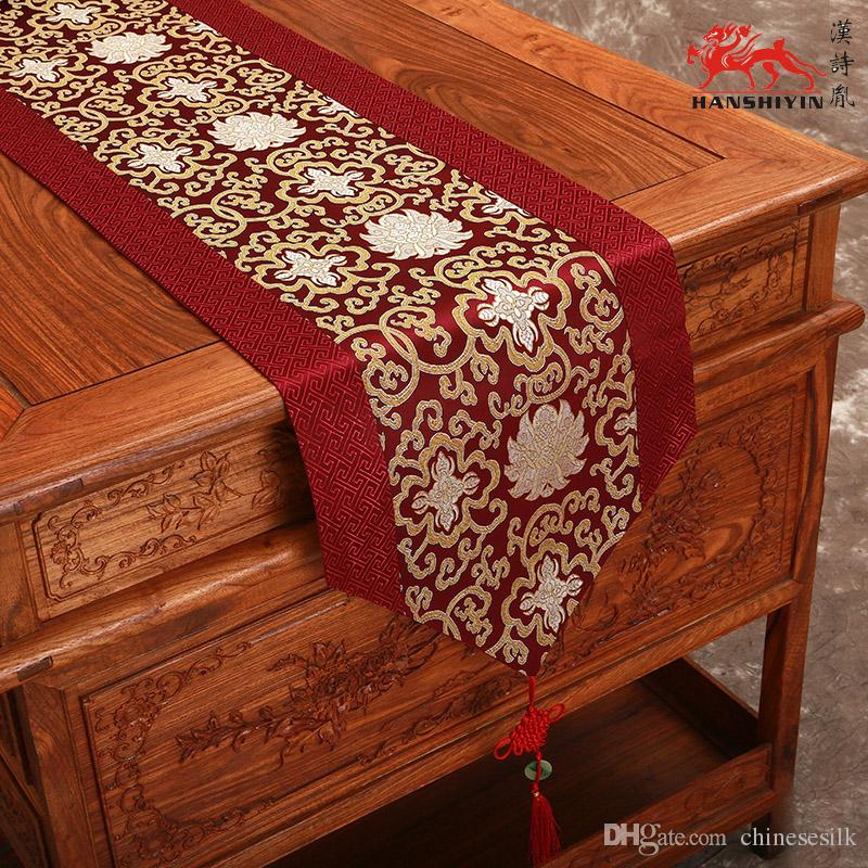 Fine Luxury Patchwork Burgundy Silk Brocade Table Runners With Tassels  Chinese Style Vintage Home Decoration Table Cloth L200*w33 Cm Multico  Halloween Table ...