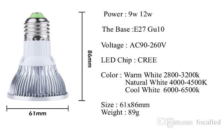 9W 12W البوليفيين LED أضواء كاشفة par20 بقيادة مصباح ضوء المصباح عكس الضوء E27 E26 Gu10 650lm أدى بقعة ضوء AC85-265V دافئ بارد الطبيعية الأبيض