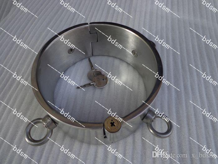 Heavy Duty Stainless Steel 5CM high Steel Locking Slave Collar Collars with 4 rings Neck Bondage BDSM
