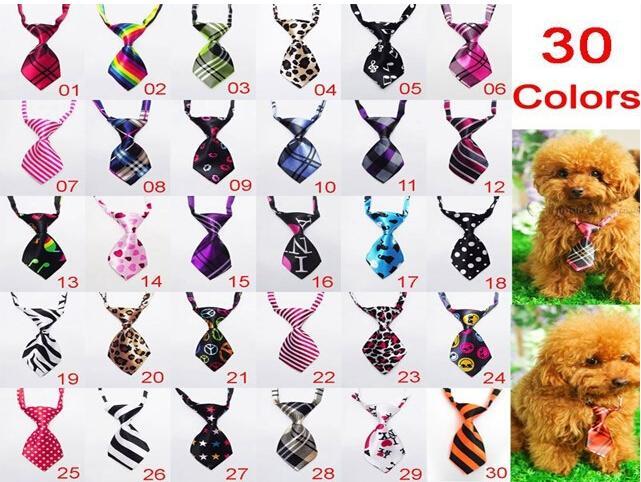 Nueva llegada mascotas perro corbatas Bowtie 100 unids / lote mezcla al por mayor 30 nuevos patrones de poliéster lindo perro pajarita perro productos de aseo