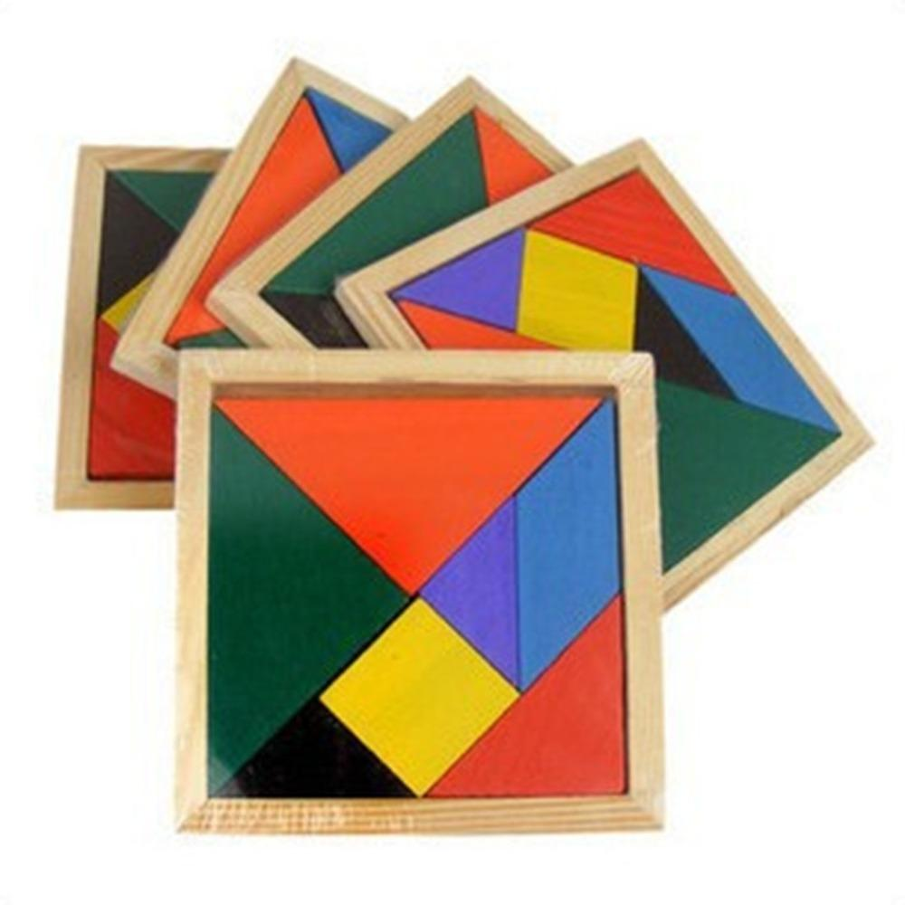1 pc Wooden Tangram 7 Piece Puzzle Colorful Square IQ Game Brain Teaser Intelligent Educational Toy for Kids Children frozen