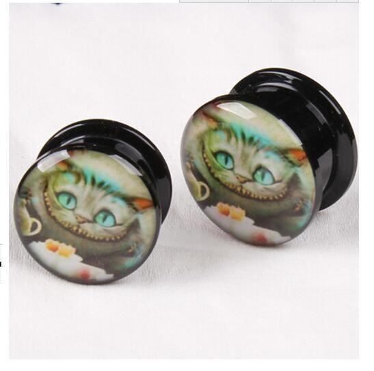 Populares Logo de gato Ear Plug cuerpo del túnel de la carne joyería 4 mm 5 mm 6 mm 8 mm 10 mm 12 mm 14 mm 16 mm