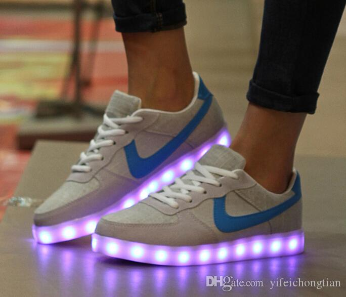 9388ffdf78046 Led Sneakers Size 36 44 LED Shoes Men Women Light Up Sneakers For Adults Men  Shoes Fashion Luminous Glowing Sneakers Mens Boots Moccasins From ...