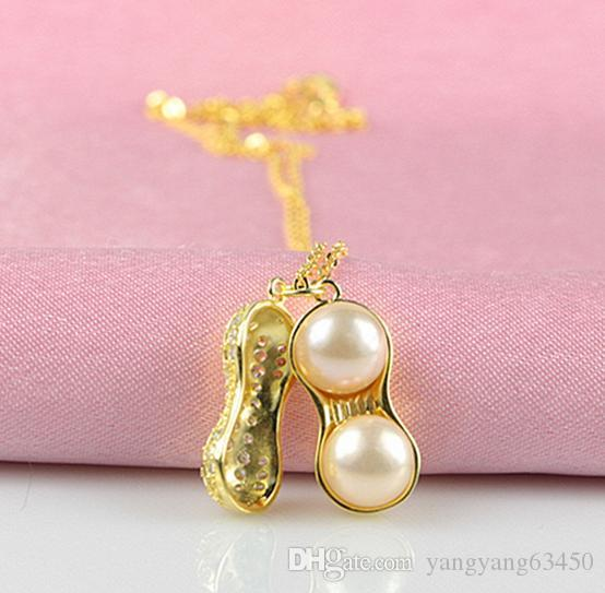 Hot sell Ms. Peanut shape Natural pearl pendant necklace 925 silver HFY- 1627
