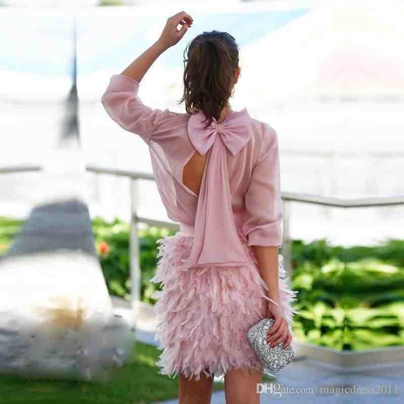 Charming Rosa Kurze Feder Cocktailkleider Lange Ärmel Open Back Mit Bogen Abendkleider Partykleider Für Besondere Anlässe Abendkleid