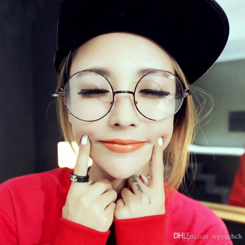 61951a6731 Men Women Round Sunglasses Retro Metal Frame Eyeglasses Korean Optical  Circle Plain Mirror Reading Gothic Glasses Legs Sunglasses Case Knockaround  ...