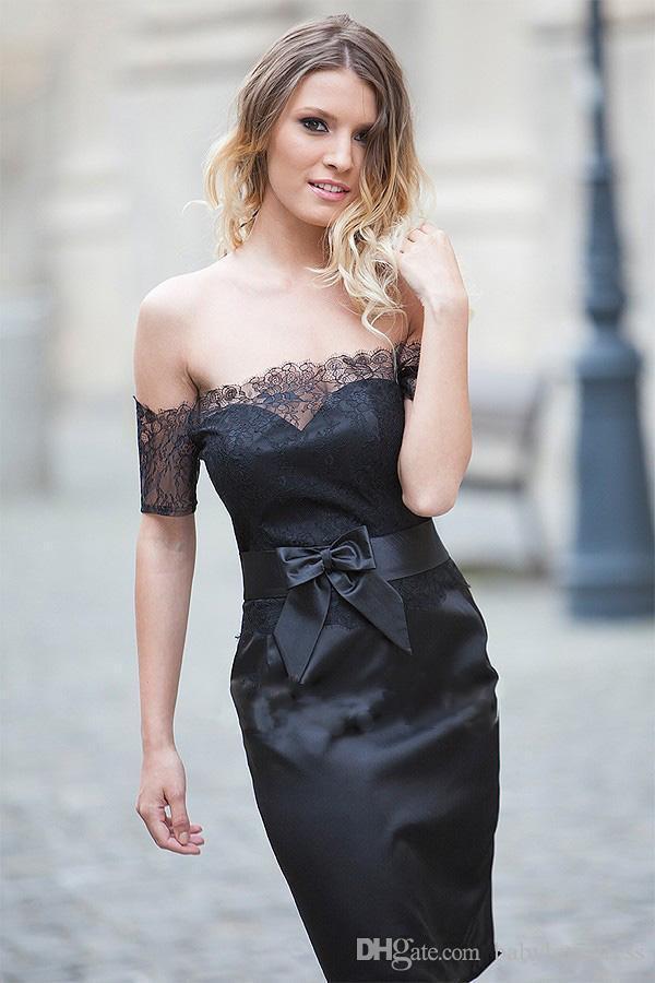 Diz Boyu Kılıf Yay Ile Küçük Siyah Kokteyl Parti Elbiseleri Dantel Kapalı Omuz Fermuar Geri Kısa Balo Abiye