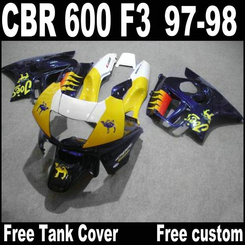 Libre Personalizar kit de carenado para HONDA CBR600 F3 1997 1998 amarillo púrpura CBR 600 F3 carenados 97 98 QY16