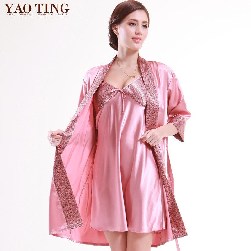 2018 Two Piece Suit Satin Silk Bathrobes Female Pajama Sets ...
