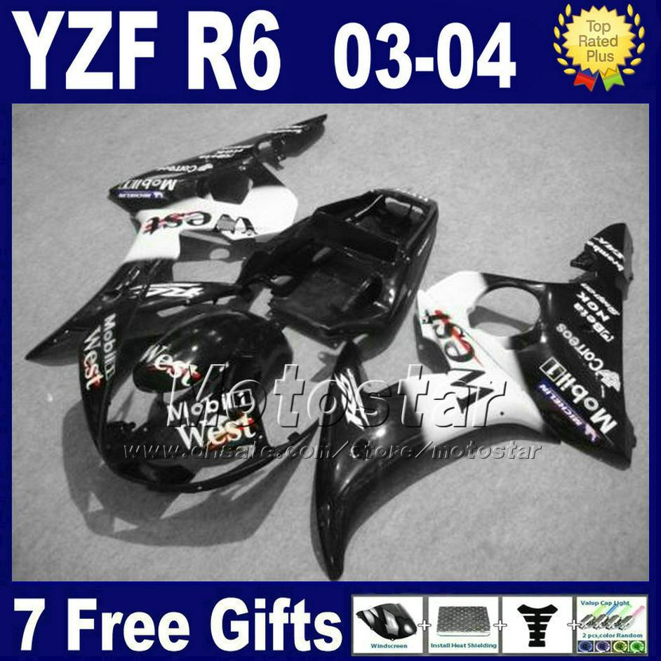 Najniższa cena Zestaw targowy dla YZF600 Yamaha YZF R6 2003 2004 White Black West Fairings Set YZF-R6 YZFR6 03 04 FH81 +7 Prezenty