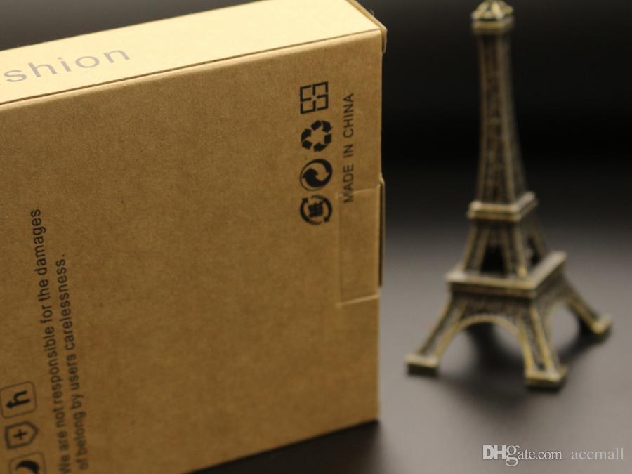 Paquete de embalaje de papel kraft de buena calidad para Samsung S5 S4 S3 Nota 4 3 2 iPhone 6 Plus 5 5S 4 Cubierta de la caja del teléfono móvil sin DHL
