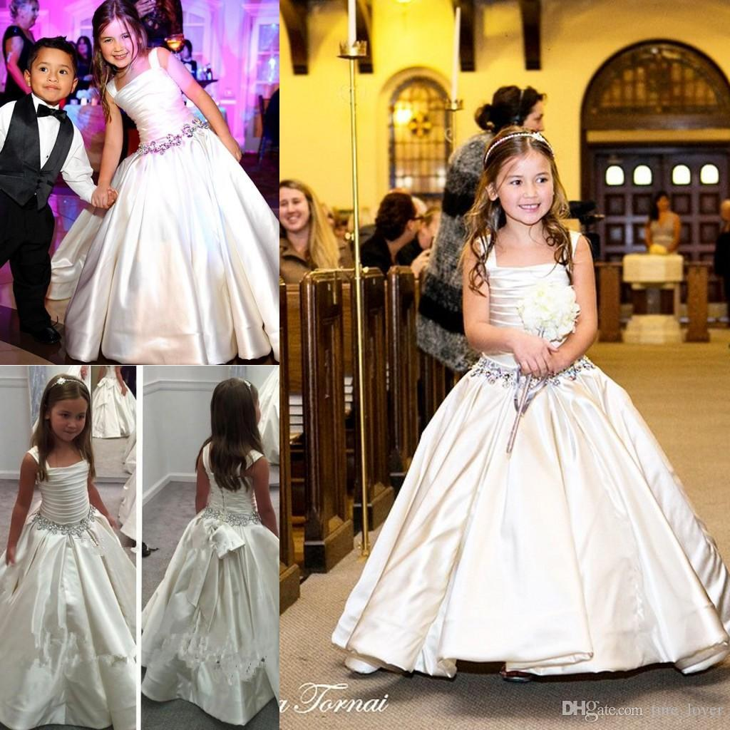 Gorgeous Ivory Little 2016 Flower Girls' Dresses with Lace-up Back PNINA TORNAI Beaded Birthday Bridal Party Gowns For Weddings Sale Cheap