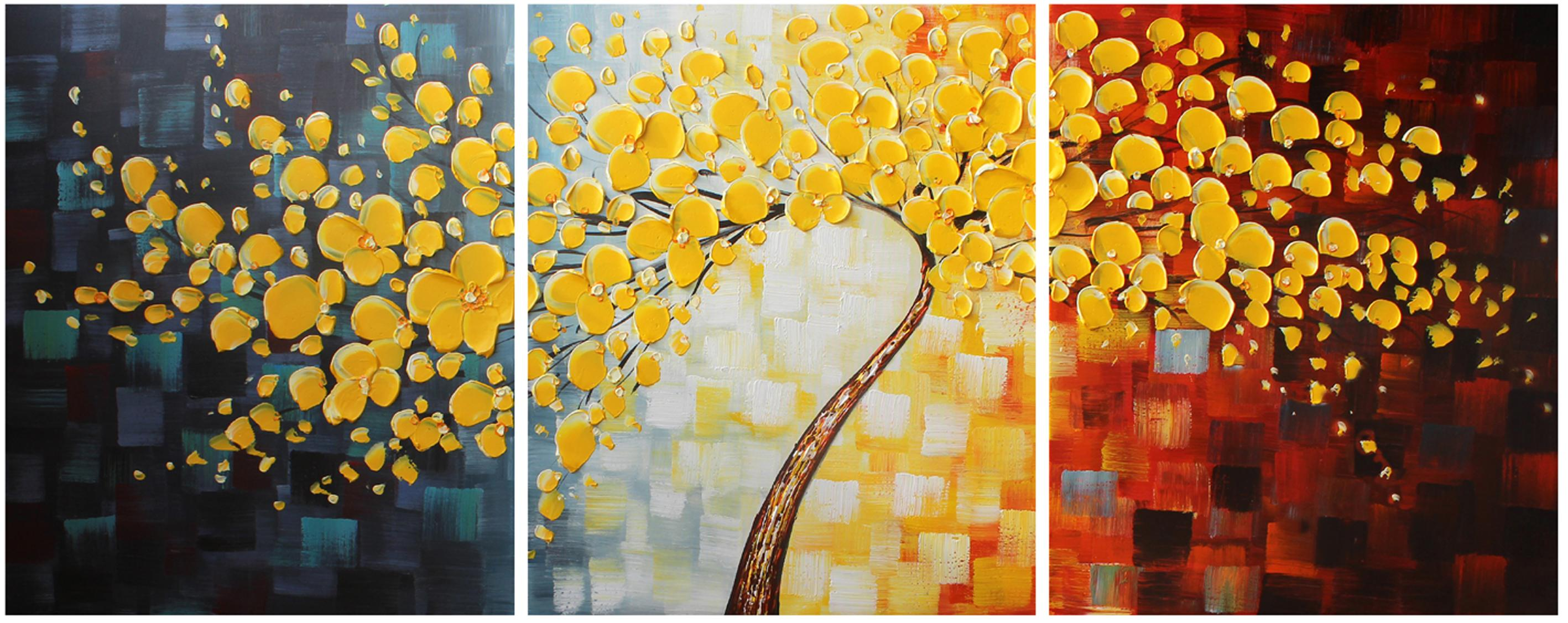GOLD Happy Tree Group Canvas Art Wall Landscape PaintingMuseum ...