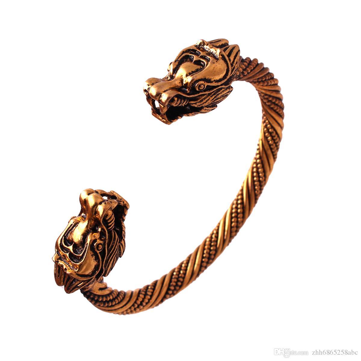 يكا تميمة سليمان باقان المجوهرات الفضة أو الذهب فايكنغ التنين سوار هائج فايكنغ الإسورة الإسورة الاسكندنافية الشمال مجوهرات