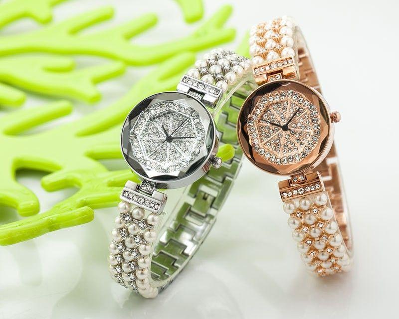 2015 Fashion Watch Women Rhinestone Watches Dress Pearl Rose Gold ...