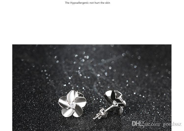 925 스털링 실버 스터드 귀걸이 패션 쥬얼리 여자를위한 작은 Wintersweet 자두 꽃 지르콘 다이아몬드 크리스탈 귀걸이