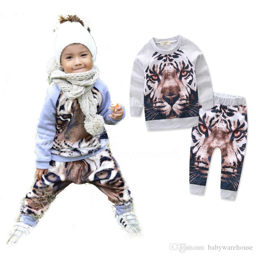 6f087cb99e83b 2019 Fashion Baby Clothes Sets Autumn Winter Toddler Kids Boys Outfits Full  Tiger Printed Sweater Pullover Tops+Pants Outfits For 0 24M From  Babywarehouse