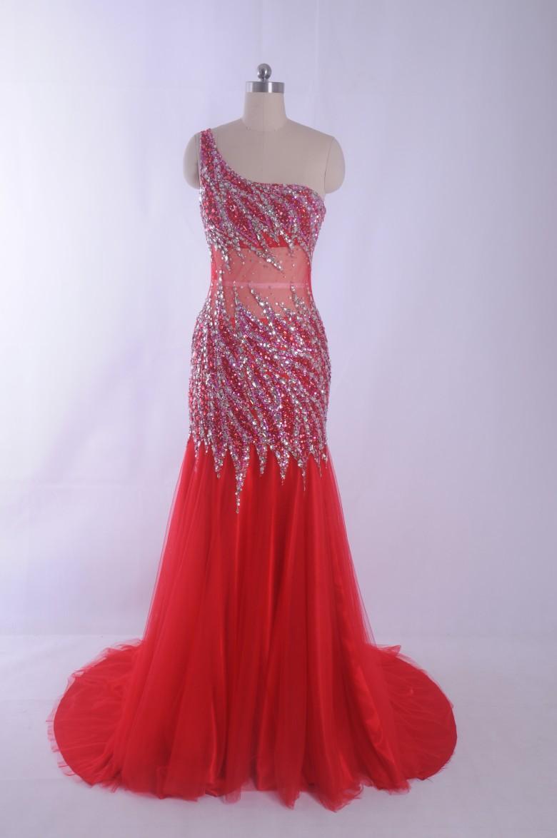 Mermaid Red Prom Dresses Sparking Crystal perline spettacolo Abito da sera Abiti da festa Una spalla sexy backless Abito da sera di lusso