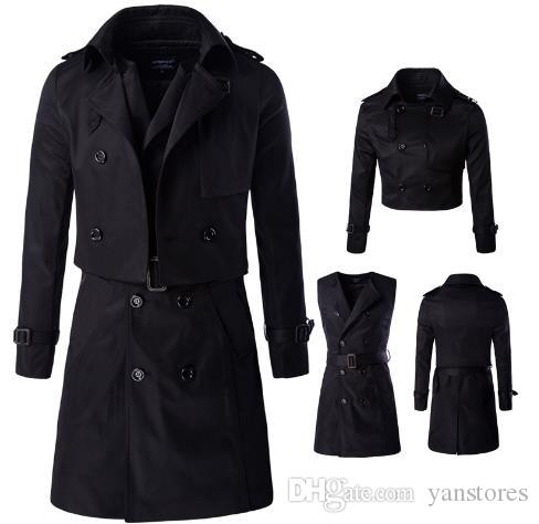 7ff8537390c A Two-piece Windbreaker Polyester Trench Coat Men Long Trench Slim ...