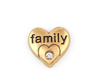 20 Adet / grup Altın Kaplama Aile Kelime Mektubu Charm, DIY Kalp Yüzer Locket Charms Cam Yaşam Manyetik Madalyon Için Fit