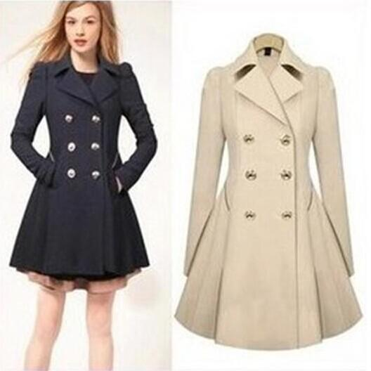 2018 2014 Autumn Winter Dress Peacoat Women Fashion Ol Trench Faux ...