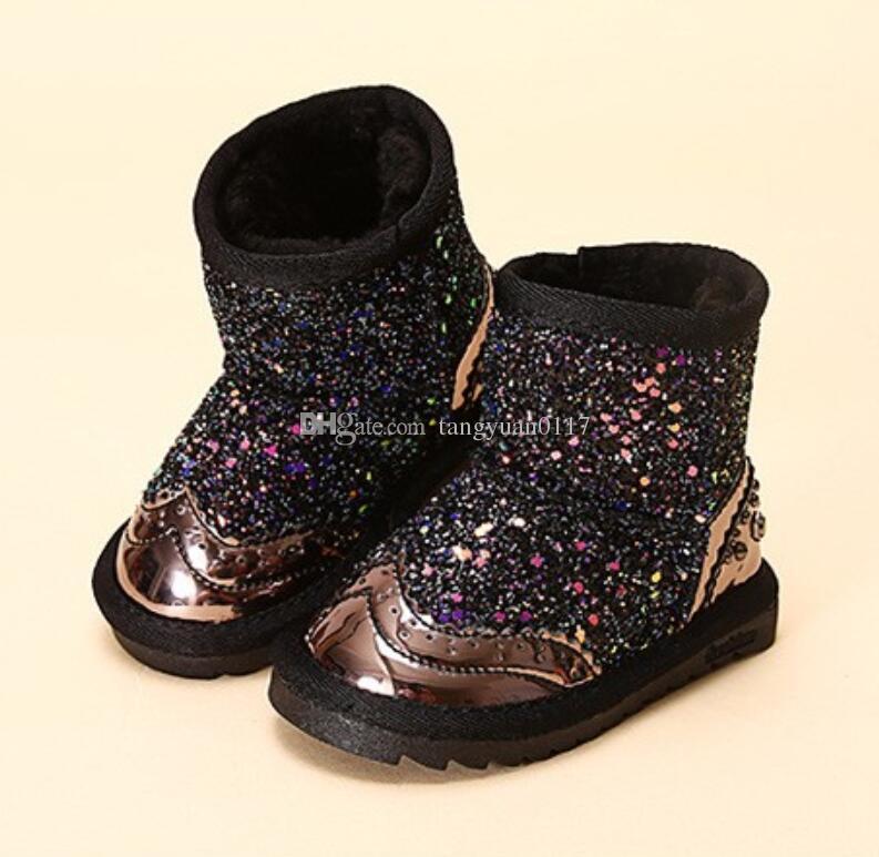 adbba81e8eeb6 Acheter Mode Coloré Bling Bottes D hiver Bottes De Neige Botte Pour Filles  D hiver Chaussures Chaussures Habillées Avec Fourrure Enfants Toddler Filles  De ...